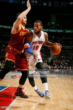 Greg Monroe of the Detroit Pistons drives to the basket against the Cleveland Cavaliers during the game on February 24 2015 at The Palace of Auburn in Hills in Detroit Michigan NOTE TO USER User...