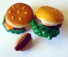 Lot 3 Realistic BUTTONS ~ Fast Food Hot Dog Hamburger Cheeseburger ~ Variety