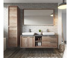 Badkamermeubel Vermont met zijkast en spiegel I like all of this! Double Vanity Unit, Vanity Units, Small Laundry Rooms, Small Bathroom Storage, Bad Inspiration, Bathroom Inspiration, Bathroom Ideas, Bathroom Vanities, Bathroom Designs