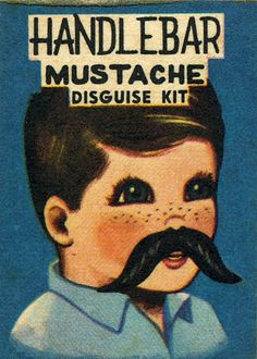 They'll never recognize you with this handy Handlebar Mustache Disguise Kit