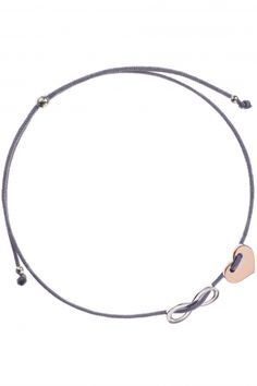 armband infinity and love herz grau textil rose vergoldet sterling silber