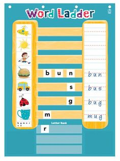 """Climb the ladder to word-building success! This adorable classroom activity makes it easy to teach and learn important skills like word analysis, swapping phonemes, and spelling. Students look at the included pictures, choose the letters needed to form that word, write the word, then adjust the letters to build more words as they climb up the ladder.   - Includes 26""""W x 38""""H chart with write-on/wipe-off surface, 20 double-sided picture cards (40 lessons), 64 letter cards, card storage…"""
