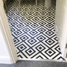 The first step in our monochrome bathroom makeover, collaborating with Carpetright who provided stylish black and white Mardi Gras vinyl flooring. Bathroom Lino Floor, Vinyl Flooring Bathroom, Bathroom Vinyl, Hallway Flooring, Vinyl Tiles, Small Bathroom, Ikea Hack Bathroom, Bathroom Ideas, Laundry Room Inspiration