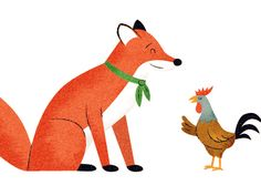 Dribbble - Fox & Rooster illustration by Nicholas Hendrickx (ukaaa)