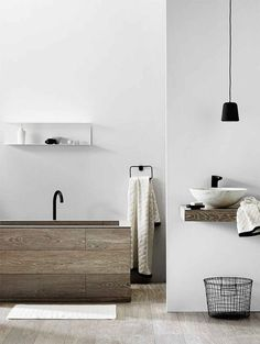 'Minimal Interior Design Inspiration' is a biweekly showcase of some of the most perfectly minimal interior design examples that we've found around the web - Interior Design Examples, Interior Design Inspiration, Design Ideas, Design Trends, Bad Inspiration, Bathroom Inspiration, Minimal Bathroom, Modern Bathroom, Wood Bathroom