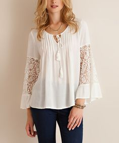 Love this Off-White Ruffle Lace-Sleeve Top on #zulily! #zulilyfinds