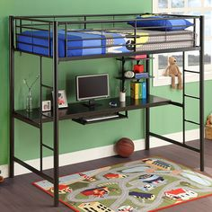 Stylish contemporary design and versatility make this Sunrise bunk bed/workstation a must-have for any kid's room.  This bed showcases an attractive black lead-free powder-coated finish.