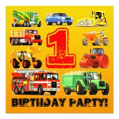 Trucks Birthday Party Invitations Baby Boy's 1st Birthday Construction Truck Party Card