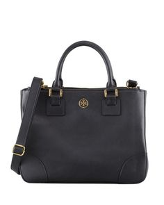Tory Burch Robinson Double Zip-Pocket Tote Bag, Black Neiman Marcus $575 DYING