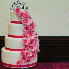 Hot pink ruffle rose cake