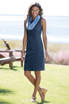 Denim Sheath Dress. This sleeveless, stretch dress is perfect worn casual style or dressed-up.