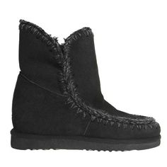 MOU Eskimo Wedge Short Boots Black - MOU