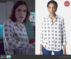 Jemma's black and white houndstooth print shirt on Agents of SHIELD.  Outfit Details: https://wornontv.net/47472/ #AgentsofSHIELD