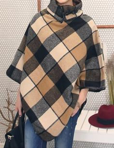 >> Click to Buy << Woolen Cashmere Overcoat Women Fashion Ponchos Trench Winter Autumn Cape Poncho Cloak Coat Outerwear European Trendy Big Plaid #Affiliate