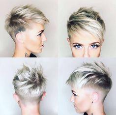 4-Kurz Blond Pixie mit Side Cut