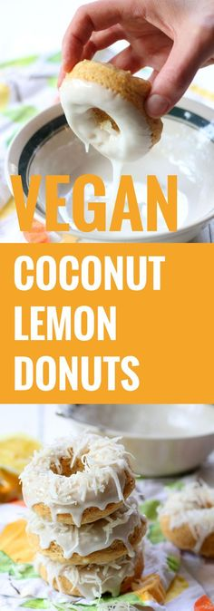 Vegan Lemon Coconut Donuts make for a healthy snack or delicious breakfast recip. Vegan Lemon Coconut Donuts make for a healthy snack or delicious breakfast recipe. Love this lemon treat! Vegan Treats, Vegan Foods, Vegan Dishes, Vegan Recipes, Cooking Recipes, Vegan Vegetarian, Vegan Lemon Desserts, Copycat Recipes, Delicious Breakfast Recipes