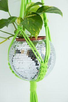 Mirror Ball Planter & Macrame Hanger