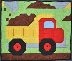 Baby boy quilt pattern Dump Truck in Wall Crib by CountedQuilts, $9.00
