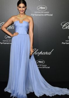 Sonam Kapoor in Elie Saab Couture paired with Chopard jewels attends the Chopard Dinner during the 67th Annual Cannes Film Festival.