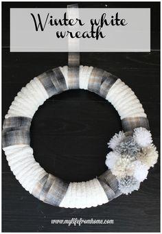winter-white-wreath-diy-wreath-neutral-wreath-winter-wreath-crafts-winter-decor-pompom-wreath-neutral-decor-wreaths | #InspirationSpotlight