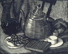 Ethel Spowers - Still life, 1929 (woodcut engraving)