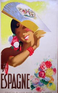 Spanish travel poster circa 1950.  Very stylized but beautiful.