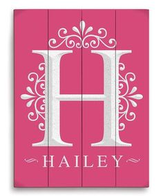 Take a look at this Pink 'H' Wood Personalized Wall Art by Image Canvas on #zulily today!