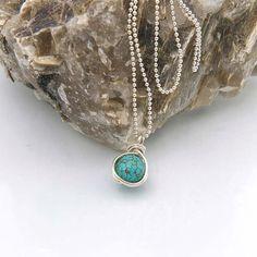 Turquoise Pendant Necklace Turquoise Howlite Gemstone by Jularee
