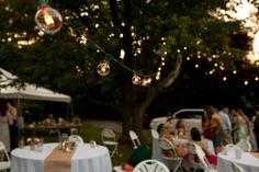 DIY Red Pink BBQ Picnic Maryland Wedding Reception Cantina Lighting 550x366 Lauren + Justins DIY BBQ Picnic Wedding in Maryland