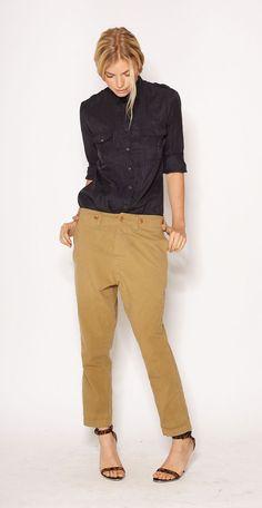 cornelia military shirt and workwear trouser from imogeneandwillie.com