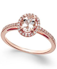 Morganite (5/8 ct. t.w.) and Diamond (1/6 ct. t.w.) Ring in 14k Rose Gold - Rings - Jewelry & Watches - Macy's
