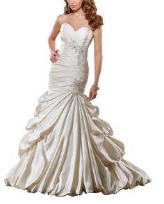 Amazon.com: GEORGE BRIDE Luxury Mermaid/Trumpet Satin Chapel Train Wedding Dress: Clothing