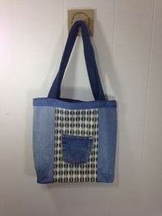 Upcycled Denim  & Upholstery Fabric Tote Bag - Mini Rainbows by SavedbyKate on Etsy