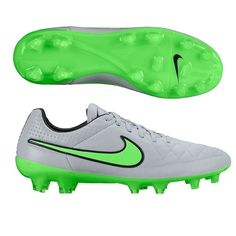 NIKE TIEMPO LEGEND V FG SOCCER CLEATS SIZE 5 WOLF GREY/GREEN 631518-030