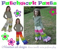 Patchwork Pants Patchwork Ruffle Pants Rainbow Pants
