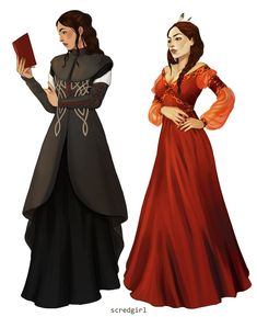 Sheala de Tancarville and Philippa Eilhart by scredgirl : witcher Character Costumes, Character Art, Character Design, Character Ideas, Witcher Art, The Witcher, Fantasy Gowns, Fantasy Art, Couture Fashion