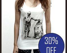 R2D2 Shirt Clothing Starwars Star wars Tank Top Sleeveless TShirt T-Shirt Women White