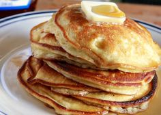 Sour Cream Pancakes.  Oh!  These are so good--make sure you double the recipe and serve with butter sauce!