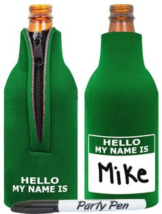 Gift idea: Funny Beer Coolie Hello My Name Is Tag and Party Pen