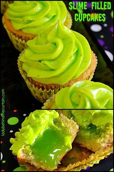 Slime Filled Coconut Lime Halloween Cupcakes: Don't be fooled by the creepy look of these cupcakes. They are delicious! Perfect for a kids Halloween par