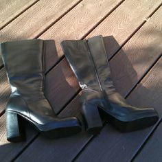 Black Steve Madden boots Boots hit just under the knee 3 inch chunky heel pinhole by seam on one boot shown in third picture worn twice. These boots are size 8 but seem to run small. Steve Madden Shoes