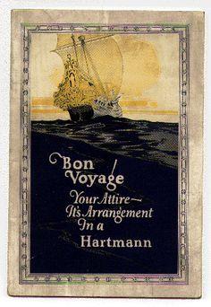 'bon voyage' 1920 travel trunk ad