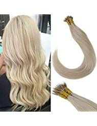 Laavoo 20 Inches Remy Nano Ring Hair Extensions Natural