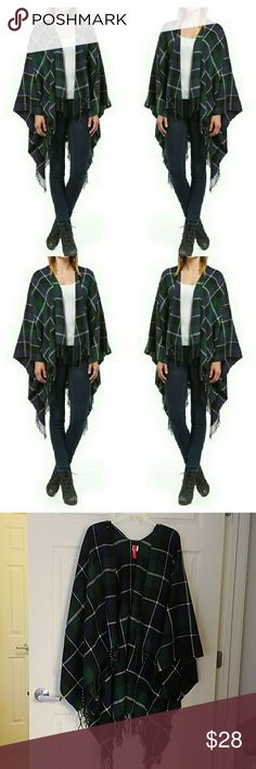 NWT COZY WARM FALL PONCHO Very soft and warm poncho. Green,blue and white tartan plaid. One size fits all!100% acrylic Fashionomics Jackets & Coats
