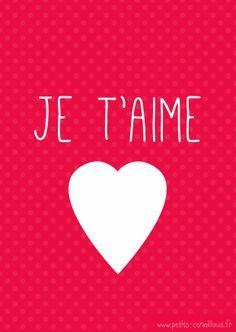 Carte de saint valentin à imprimer [gratuit] Je t'aime, coeur par petits-canaillous.fr Free printable