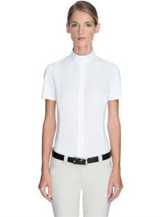 MIASUKI - LUCY COMPETITION RIDING COTTON SHIRT - SHIRTS - WHITE - LUISAVIAROMA - High collar. Short sleeves. Concealed front button closure . Mother of pearl buttons . Embroidered detail on collar. Back darts. Sample size: 40