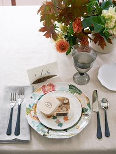 Table setting ideas for Thanksgiving or another fall party.