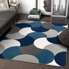 Well Woven Hilda Blue Modern Geometric Circles & Boxes Pattern Area Rug x Navy Blue And Grey Living Room, Blue Living Room Decor, Blue Home Decor, Rugs In Living Room, Living Room Designs, Room Color Schemes, Room Colors, Blue Furniture, Living Room Furniture