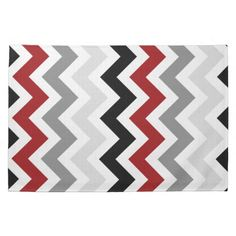 Modern Dark Red, Gray and Black Chevron Zigzag Pattern on White Kitchen Towels. A modern design in bold colors Matching Plates: Matching Pillows: Size: Kitchen Towel x Color: black/gray/red/white. Black And Red Kitchen, Black Kitchen Decor, Kitchen Colors, Red And Grey, Dark Red, Black And White, Red Black, Chevron Kitchen, Grey Kitchens
