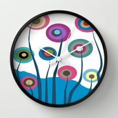 Artsy and Funky Floral Art Wall Clock by Kippygirl - $30.00